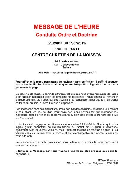 LES PRÉDICATIONS DE WILLIAM MARRION BRANHAM