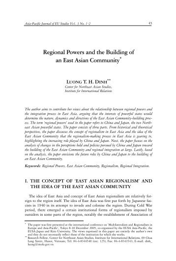 Regional Powers and the Building of an East Asian Community