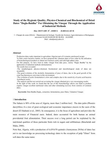 Study of the Hygienic Quality, Physico-Chemical and ... - isites2013