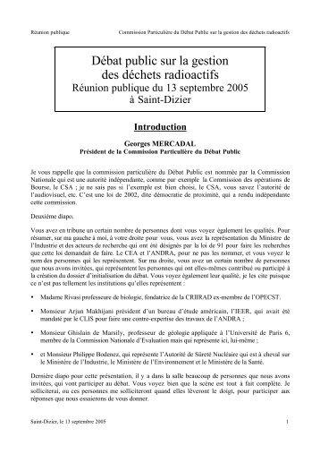 Consulter le compte rendu - Commission nationale du débat public