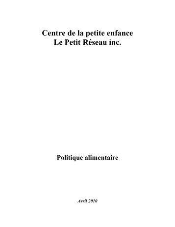 Politique alimentaire - CPE Petit Reseau