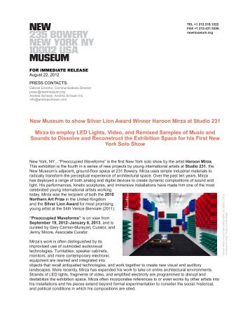 New Museum to show Silver Lion Award Winner Haroon Mirza at ...