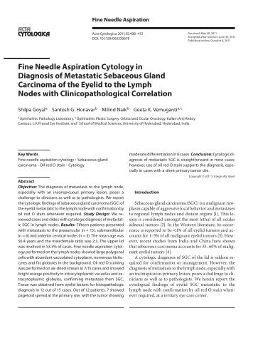 Fine Needle Aspiration Cytology in Diagnosis of Metastatic ...