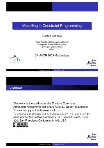 Modelling in Constraint Programming - Cork Constraint Computation ...