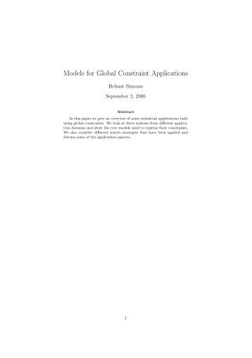 Models for Global Constraint Applications - Cork Constraint ...