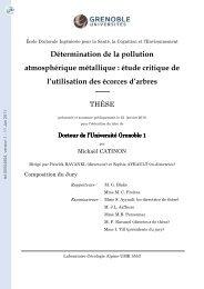 Détermination de la pollution atmosphérique métallique: étude ...