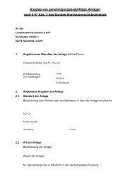 Anzeige von genehmigungsbedürftigen Anlagen nach § 67 Abs. 2 ...