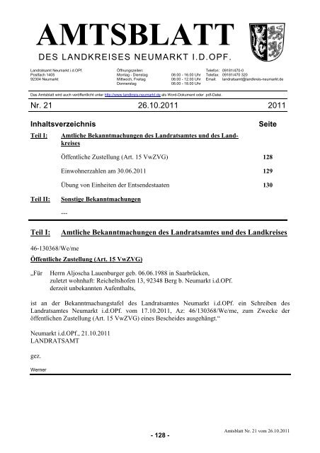 AMTSBLATT - Landkreis Neumarkt