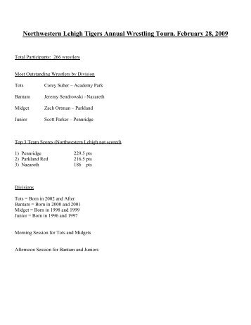 Northwestern Lehigh Tigers Annual Wrestling Tournament March 1 ...