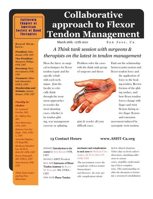 Collaborative approach to Flexor Tendon Management - ASHT