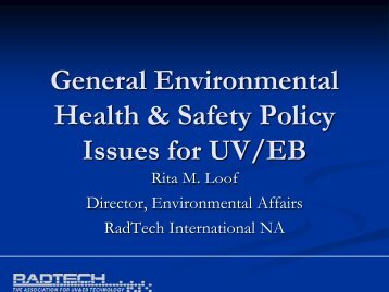 General Environmental Health & Safety Policy Issues for UV/EB