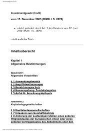Investmentgesetz (InvG)