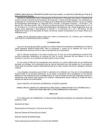 NORMA Oficial Mexicana NOM-010-SSA2-2010, Para la prevención ...