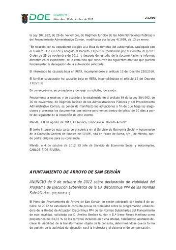 ayuntamiento de arroyo de san serván - Diario Oficial de Extremadura