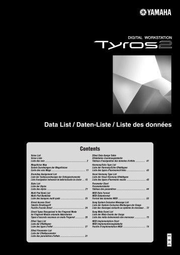Data List / Daten-Liste / Liste des données