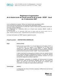 Règlement d'organisation de la Haute école de travail social ... - EESP