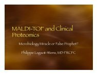 MALDI-TOF and Clinical Proteomics - National Molecular ...