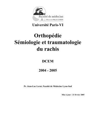 Orthopédie Sémiologie et traumatologie du rachis - Free