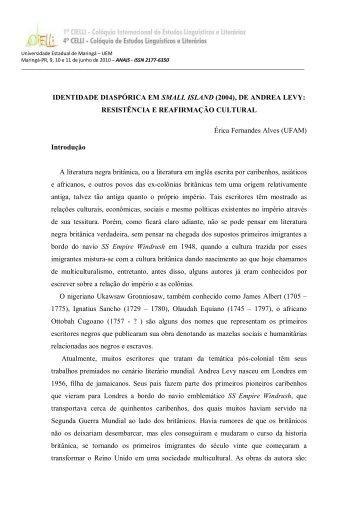 IDENTIDADE DIASPÓRICA EM SMALL ISLAND (2004), DE ... - Cielli