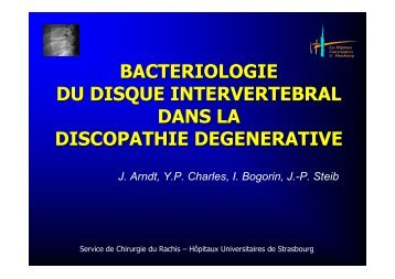 bacteriologie du disque intervertebral dans la discopathie ...
