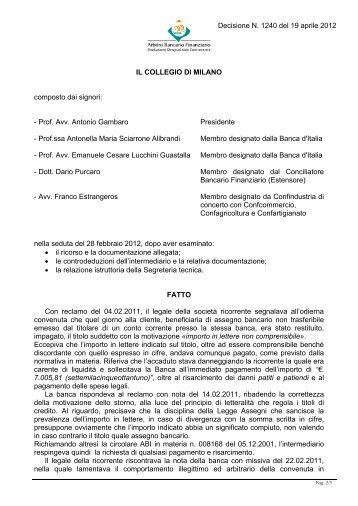 Decisione N. 1240 del 19 aprile 2012 - Arbitro Bancario Finanziario