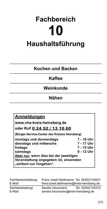 Fachbereich Haushaltsführung - VHS Kreis Heinsberg