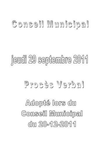 Procès-verbal du Conseil Municipal du 29-09-2011 - Ville de Wattrelos