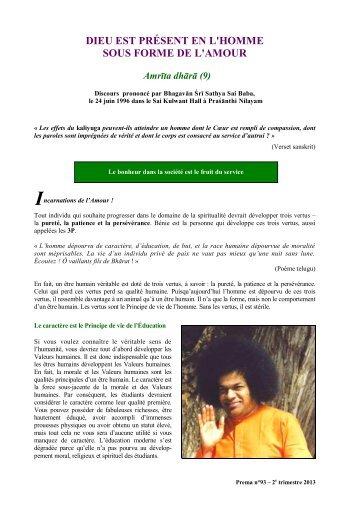 DISCOURS DE BHAGAVÂN BABA : le 24 juin 1996 - Prema - La ...
