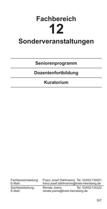 Fachbereich Sonderveranstaltungen - VHS Kreis Heinsberg