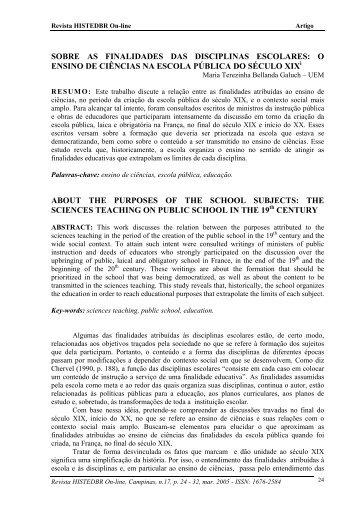 sobre as finalidades das disciplinas escolares - histedbr - Unicamp
