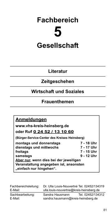 Fachbereich Gesellschaft - VHS-Kreis-Heinsberg