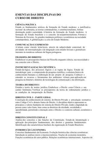 EMENTAS DAS DISCIPLINAS DO CURSO DE DIREITO - Ulbra