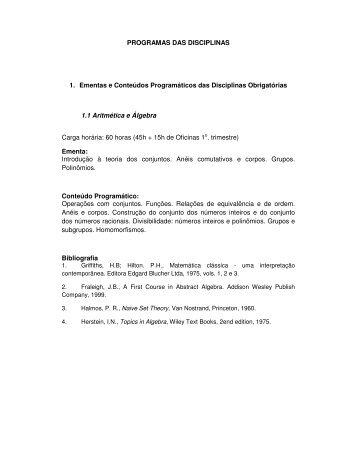 Programa das Disciplinas - UNESP - Rio Claro