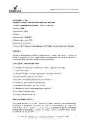 Baixe as ementas das disciplinas oferecidas em 2011/1 - Unisinos