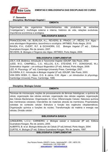 EMENTAS E BIBLIOGRAFIA DAS DISCIPLINAS DO CURSO 1º ...