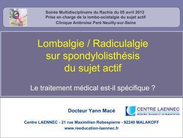 Lombalgie / Radiculalgie sur spondylolisthésis du sujet actif - Centre ...
