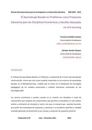El Aprendizaje Basado en Problemas como propuesta ... - RIDE