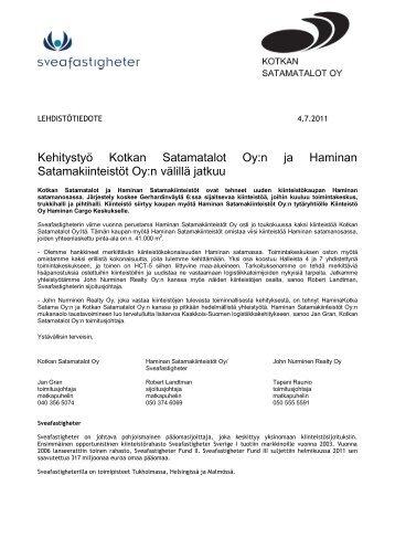 Kehitystyö Kotkan Satamatalot Oy:n ja Haminan Satamakiinteistöt ...