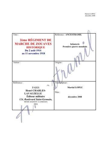 2° Régiment de Zouaves- historique 1914-1918 - Ancestramil