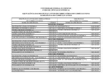 Equivalência das disciplinas/atividades obrigatórias do ... - UFF