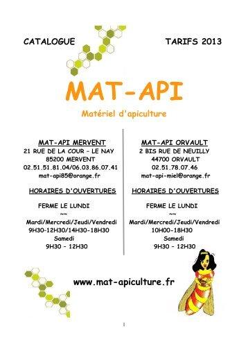Téléchargez notre catalogue 2013 en PDF - Mat-Api