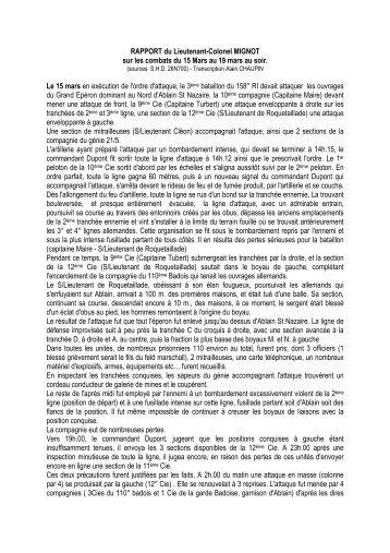 RAPPORT du Lieutenant-Colonel MIGNOT - Canalblog