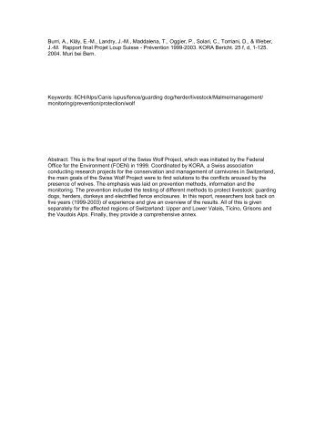 Rapport final Projet Loup Suisse – Prévention 1999 – 2003 - Kora