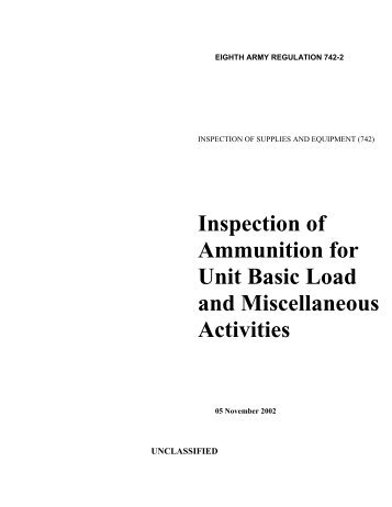 Inspection of Ammunition for Unit Basic Load and Miscellaneous ...