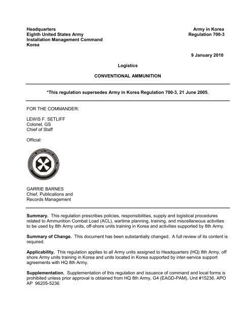 AK Reg 700-3 Conventional Ammunition pdf - Eighth Army