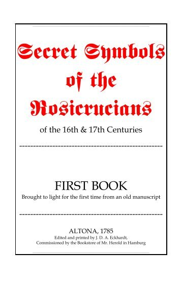 Secret Symbols Of The Rosicrucians Second Book