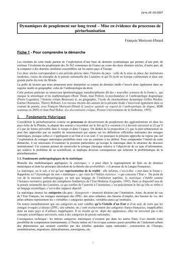 Dynamiques de peuplement sur long trend - Outils et méthodes pour ...