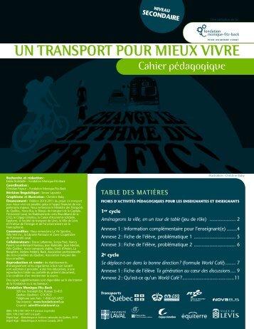 UN TRANSPORT POUR MIEUX VIVRE - Fondation Monique-Fitz-Back