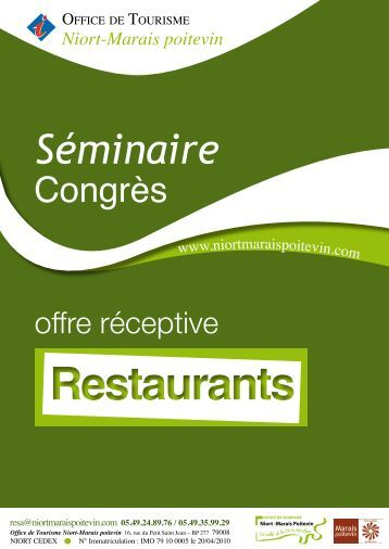 Brochure Restaurants - Office de tourisme de Niort Marais Poitevin