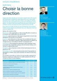 Audit interne – Choisir la bonne direction - PwC